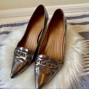 Silver snake skin Circa Joan & David Luxe heels